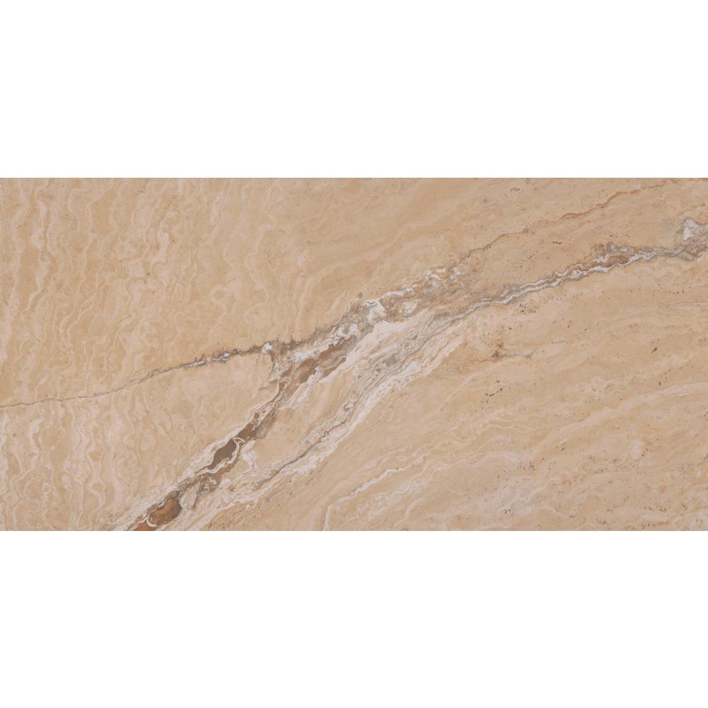 MSI Pietra Vezio Beige 12 in. x 24 in. Polished Porcelain Floor and ...