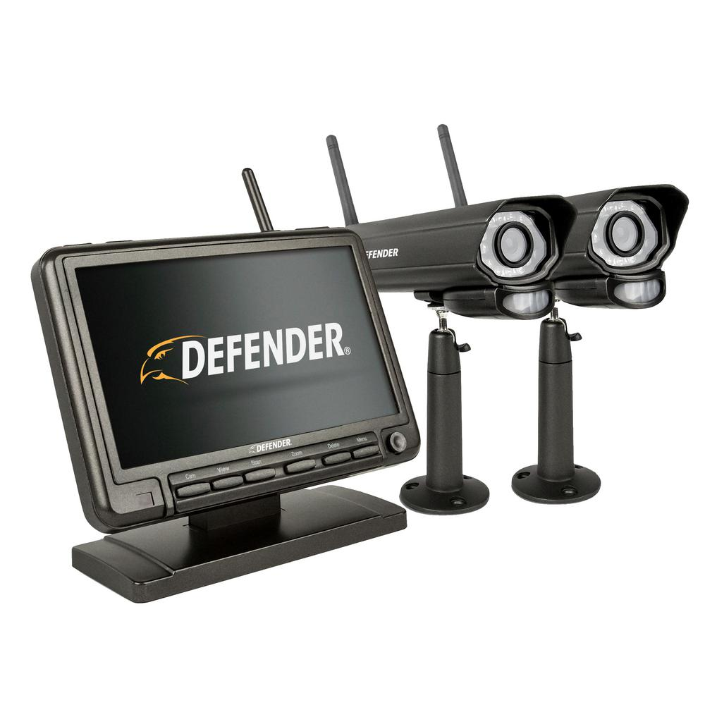 Svat Electronics Defender Wireless DVR Security System with 2 Digital Cameras, LCD Monitor, Model PhoenixM2.2C, Black
