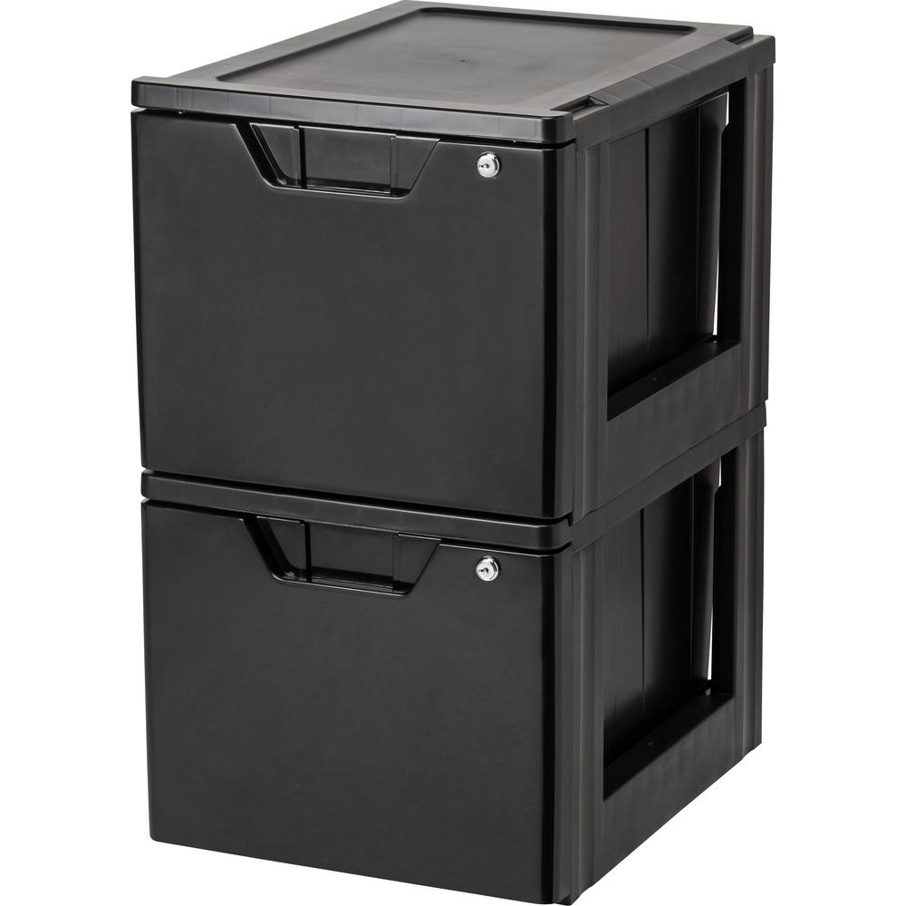 Black Stacking File Storage Drawer With Lock (