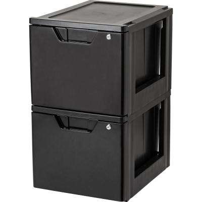 15.38 in. x 13.5 in. Black Stacking File Storage Drawer with Lock (2-Pack)