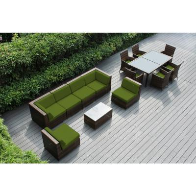 Mixed Brown 14-Piece Wicker Patio Combo Conversation Set with Sunbrella Macaw Cushions