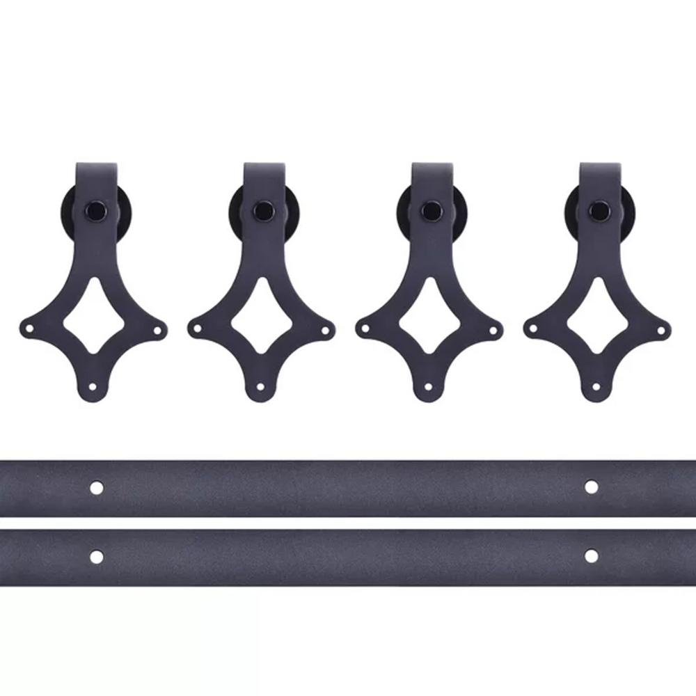 CALHOME 12 ft. Classic American Country Sliding Standard Double Track Barn Door Hardware Kit