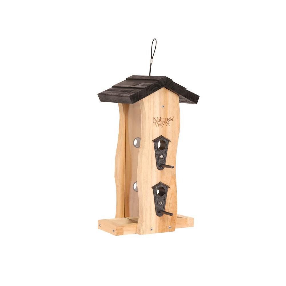 Cedar Vertical Wave Bird Feeder