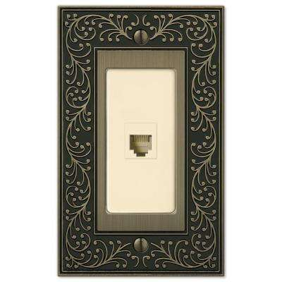 English Garden 1 Phone Wall Plate - Brushed Brass