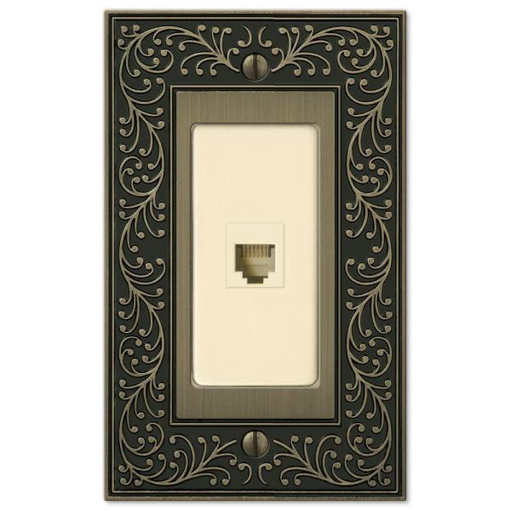 English Garden 1 Gang Phone Metal Wall Plate - Brushed Brass