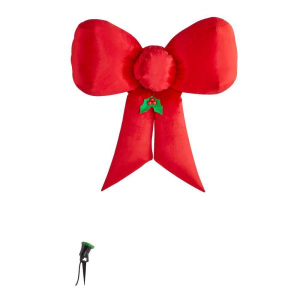 4.49 ft. Inflatable Fuzzy Hanging Velvet Bow-Red with External Spotlight
