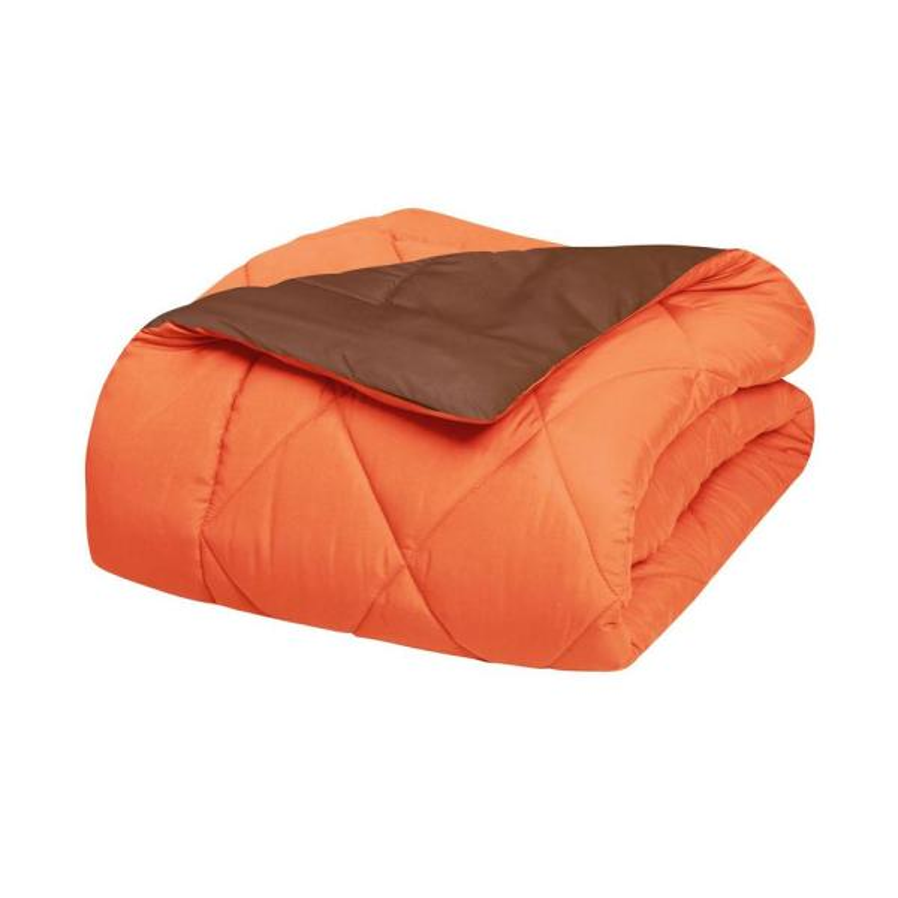 2-Piece Orange/Chocolate Twin XL Comforter Set