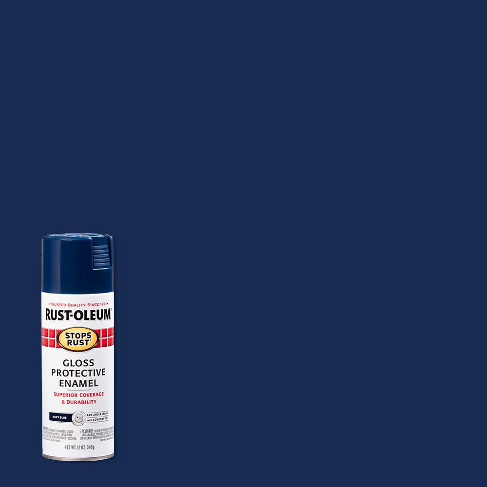 Rust-Oleum Stops Rust 12 oz. Protective Enamel Gloss Navy Blue Spray Paint (6-Pack)