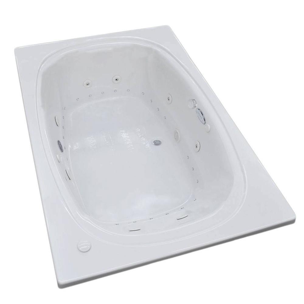 Peridot Diamond Series 6.5 ft. Acrylic Rectangular Drop-in Center Drain Whirlpool and Air Bath Tub in White