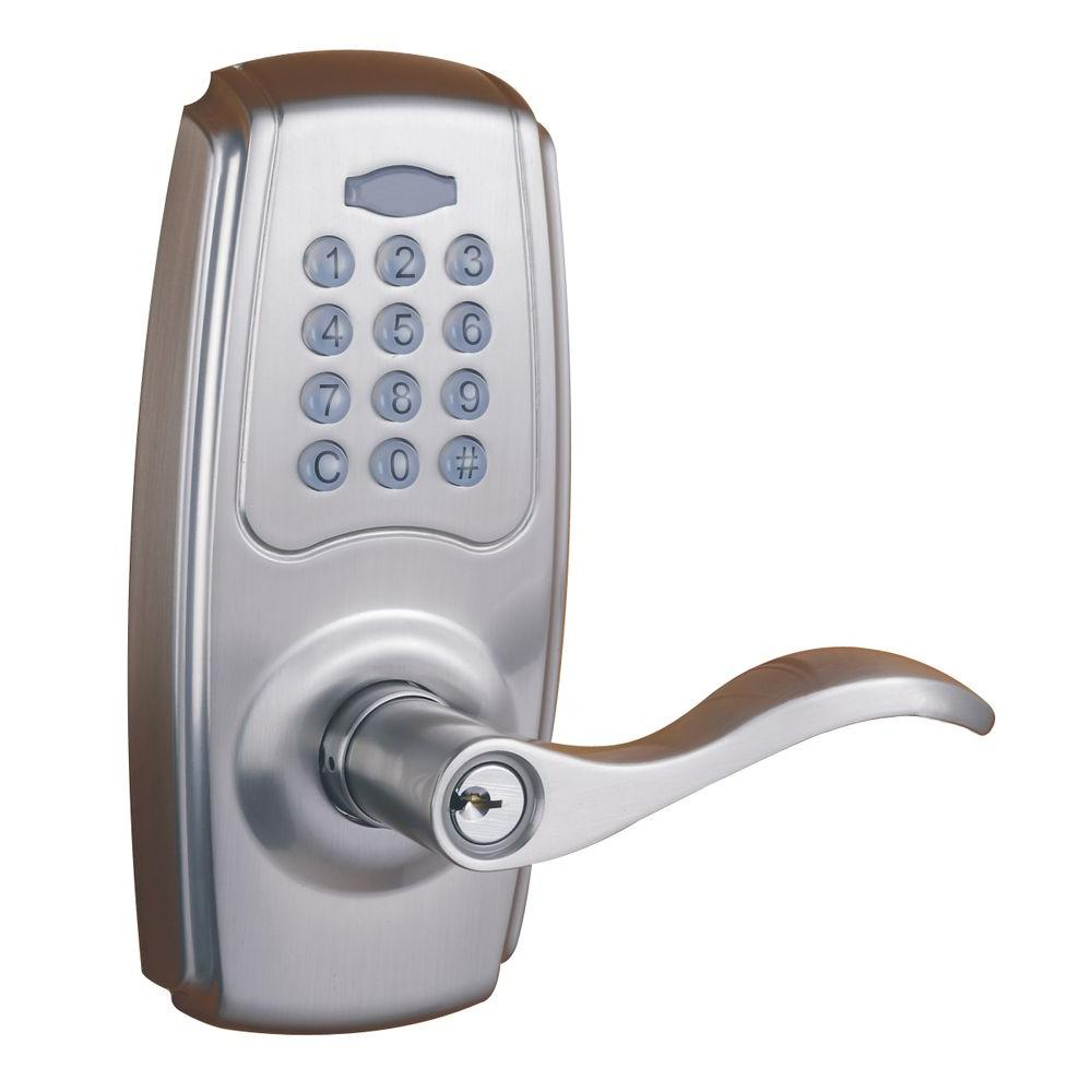 Satin Nickel Electronic Keypad Door Lever Set