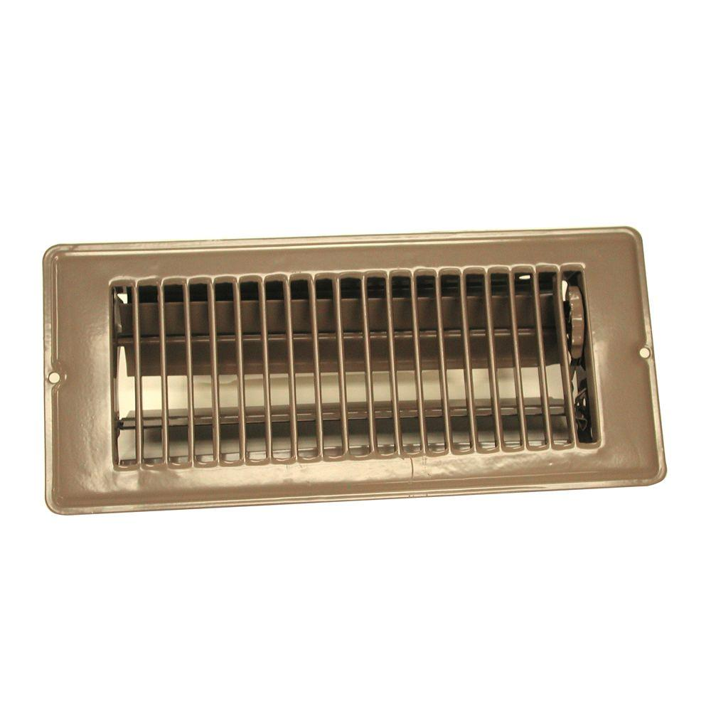 4 in. x 10 in. Steel Floor Register with 1-5/16 in.