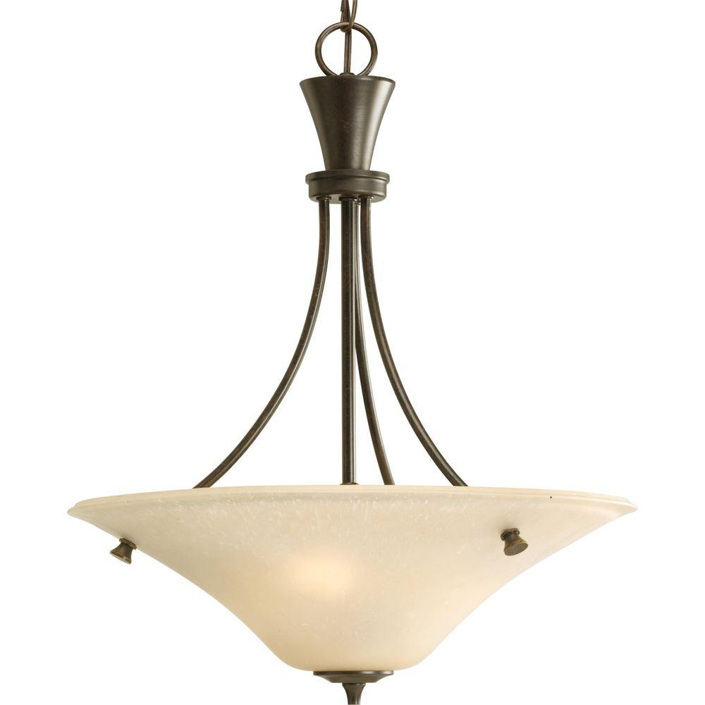 Progress Lighting Cantata Collection 3-Light Forged Bronze Foyer Pendant with Seeded Topaz Glass