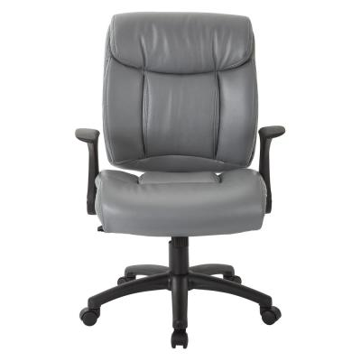 Charcoal Grey Faux Leather Managers Chair with Built-in Lumber Support