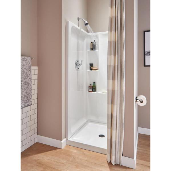 Classic 400 36 in. x 36 in. x 74 in. 3-Piece Direct-to-Stud Alcove Shower Surround in White
