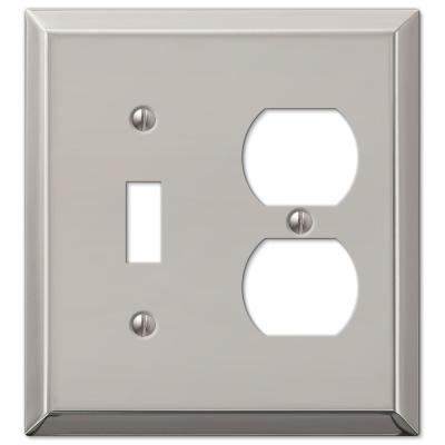 Metallic 2 Gang 1-Toggle and 1-Duplex Steel Wall Plate - Polished Nickel