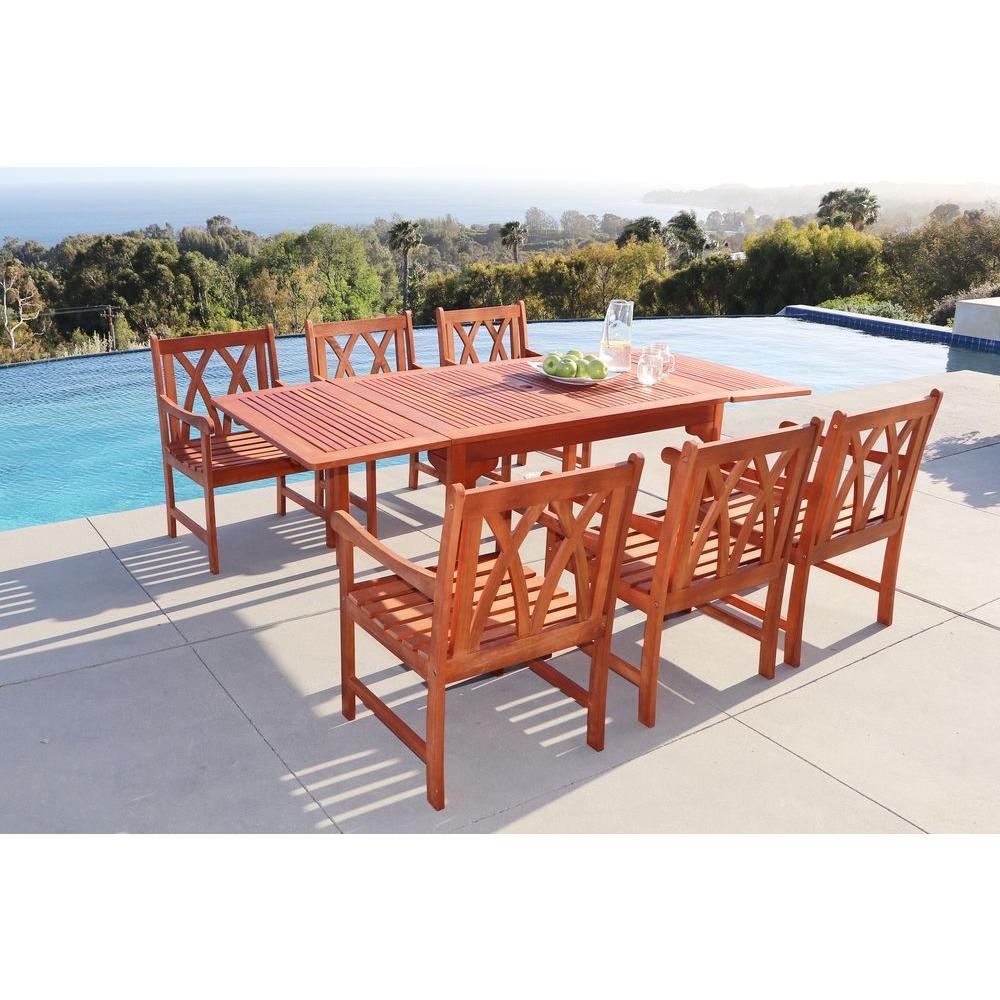 Vifah Malibu 7 Piece Rectangle Patio Dining Set V1564set5