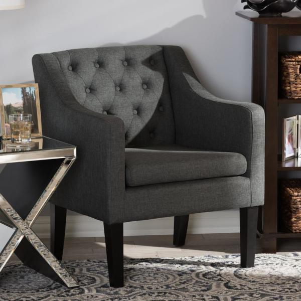 Baxton Studio Brittany Gray Fabric Upholstered Accent Chair 28862-5456-HD
