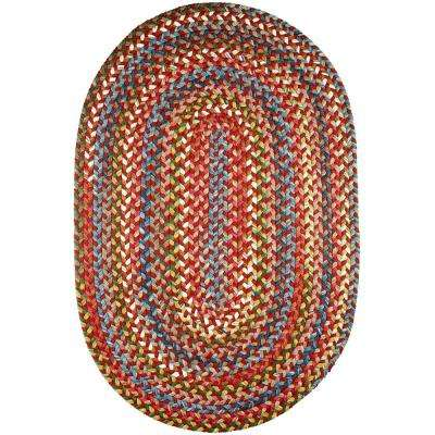Bouquet Tawny Port 5 ft. x 8 ft. Oval Indoor/Outdoor Braided Area Rug