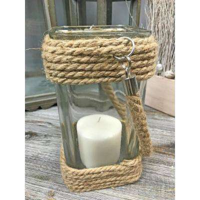 Jute Rope Glass Square Candle Holder