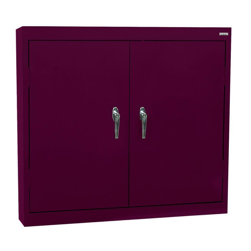 Sandusky 30 in. H x 36 in. W x 12 in. D Steel Wall Cabinet in Burgundy