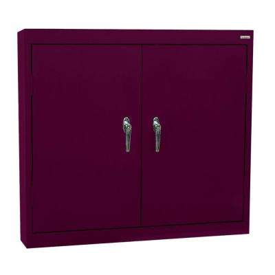 30 in. H x 36 in. W x 12 in. D Steel Wall Cabinet in Burgundy