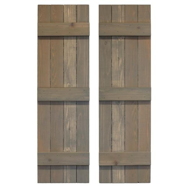 14 in. x 48 in. Board and Batten Traditional Shutters Pair Stone Gray