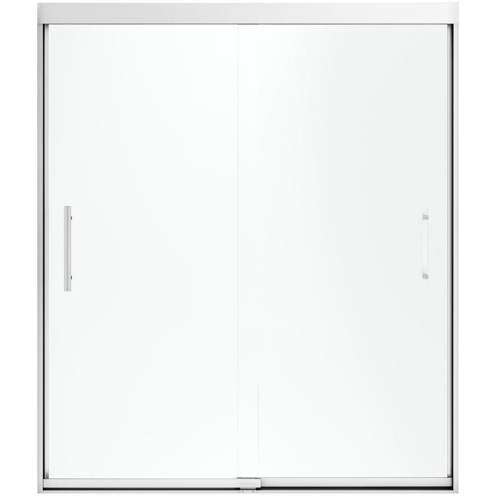 Finesse 59-5/8 in. x 70-1/16 in. Heavy Semi-Frameless Sliding Shower Door
