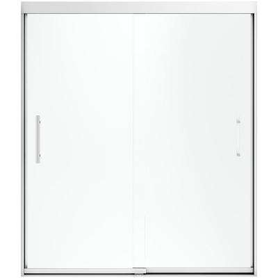 Finesse 59-5/8 in. x 70-1/16 in. Heavy Semi-Frameless Sliding Shower Door in Silver with Handle