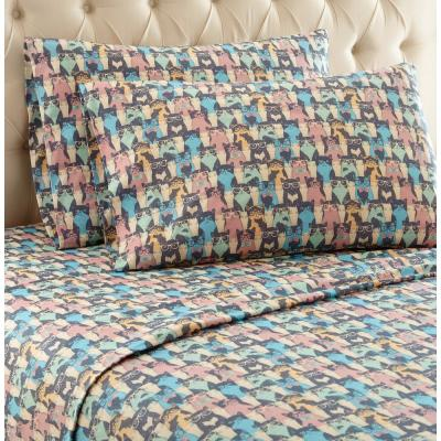 3-Piece Kool Kats Twin XL Printed Sheet Set