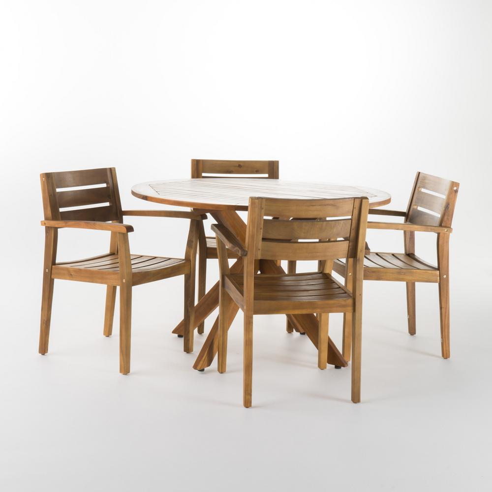 Darius 5-Piece Acacia Wood Round Outdoor Dining Set