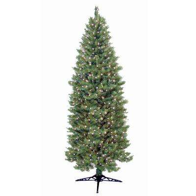9 ft. Pre-Lit Slender Spruce Artificial Christmas Tree with Clear Lights