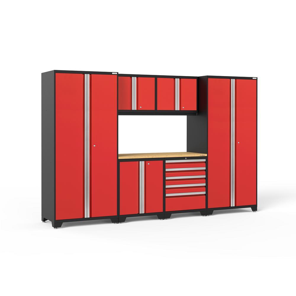 Pro 3.0 85.25 in. H x 128 in. W x 24 in. D 18-Gauge Welded Steel Garage Cabinet Set in Red (7-Piece)