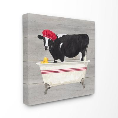 """17 in. x 17 in. """"Bath Time For Cows at Tub Red Black and Grey Painting"""" by Tara Reed Canvas Wall Art"""