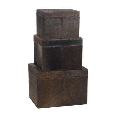 Faux Pony Chestnut Hair-On Leather Nested Decorative Boxes (Set of 3)