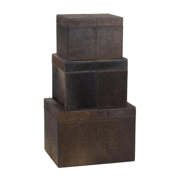 df99dd3d Titan Lighting Faux Pony Chestnut Hair-On Leather Nested Decorative Boxes  (Set of 3