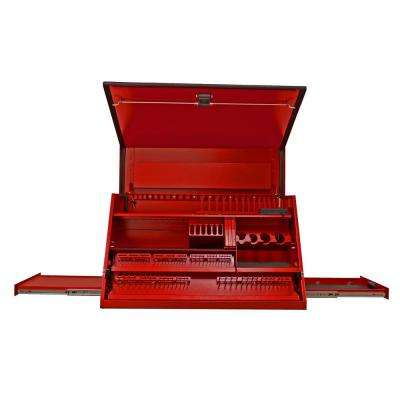 41 in. 3-Drawer Deluxe Portable Workstation Top Chest with Computer Drawer and Pull-Out Shelf in Textured Red