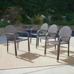 Aurora Multi-Brown Armed Wicker Outdoor Dining Chair (4-Pack)