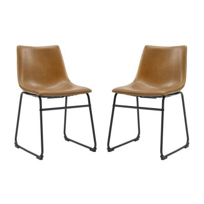 "18"" Industrial Faux Leather Dining Chair, set of 2 - Whiskey Brown"