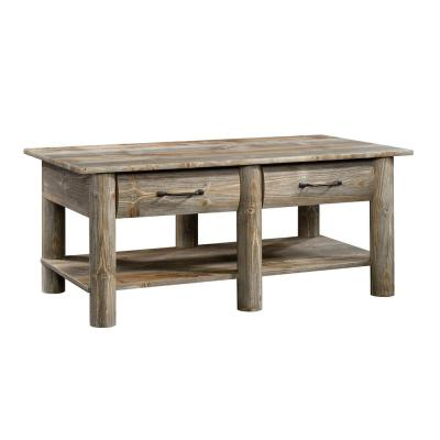 Boone 44 in. Rustic Cedar Large Rectangle Composite Coffee Table with Drawers