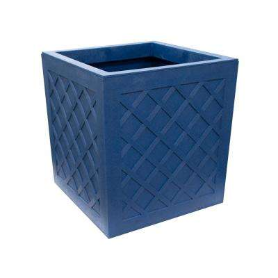 Vitality 13.5 in. W x 14 in. H Square Cobalt Blue Rubber Self-Watering Planter