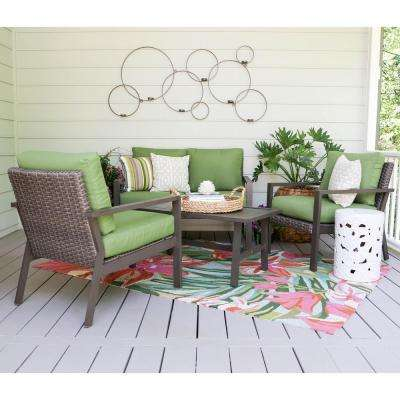 Preston 4-Piece Wicker Patio Conversation Set with Green Cushions