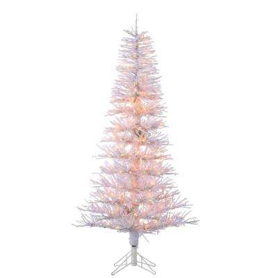 6 ft. Pre-Lit White Tinsel Twig Artificial Christmas Tree