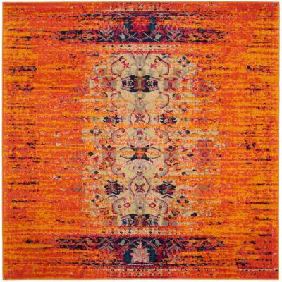 Monaco Orange/Multi 5 ft. x 5 ft. Square Area Rug