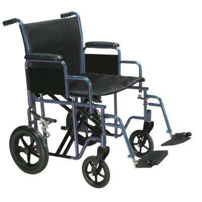 Bariatric Heavy Duty Transport Wheelchair with Swing Away Footrest and 22 in. Seat in Blue