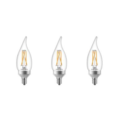 40-Watt Equivalent Soft White B11 Dimmable Warm Glow Dimming Effect Bent Tip E12 Candle LED Light Bulb (2700K) (3-Pack)