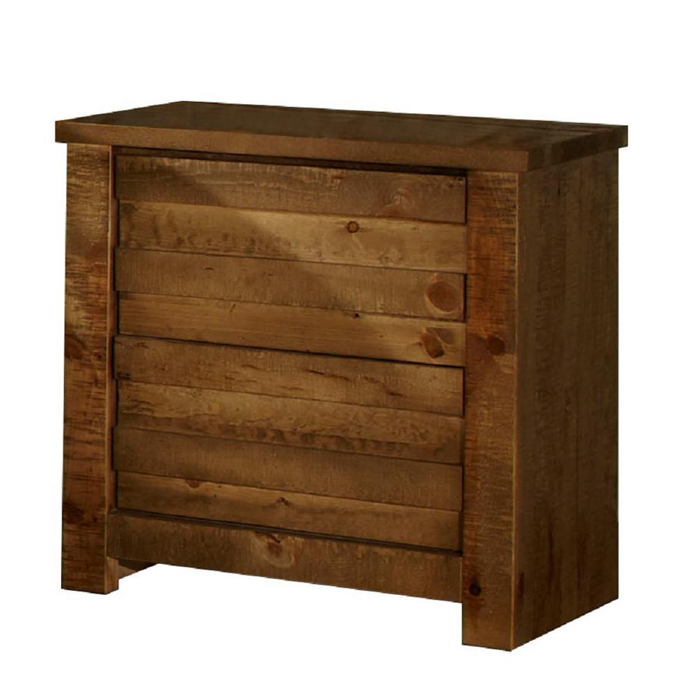 Progressive Furniture Melrose 2-Drawer Driftwood Nightstand, Distressed Pine