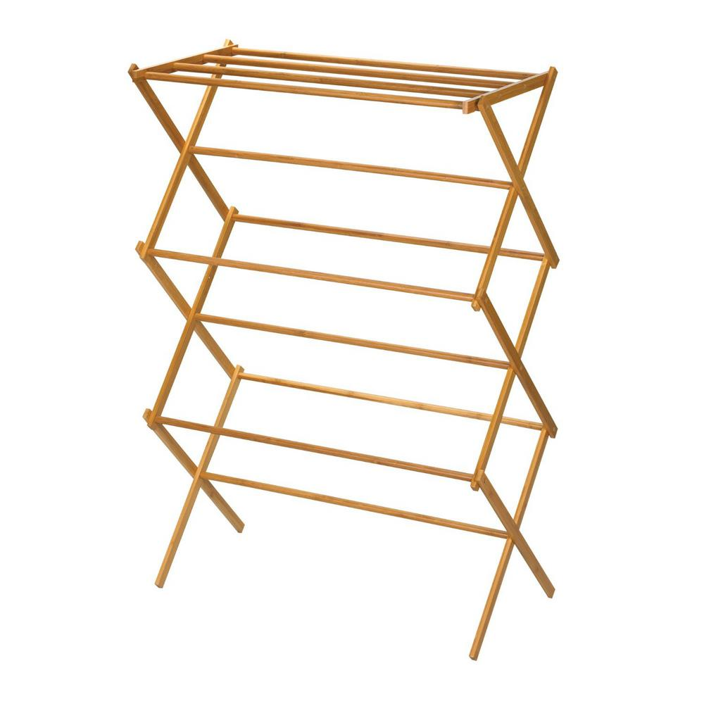 HOME4U 30 in x 20 in Bamboo Wooden clothes Drying Rack 14.5 in x 29 in Bamboo drying rack is crafted from sturdy bamboo, designed to provide a naturally lightweight drying structure. this drying rack easily collapses for Space Saving Storage while not in use. the top shelf is equipped with 4 drying bars for sweaters and other clothing items that need to lay flat while the bottom tiers are designed for hanging clothes and allowing them to dry fast. Color: Bamboo wood.
