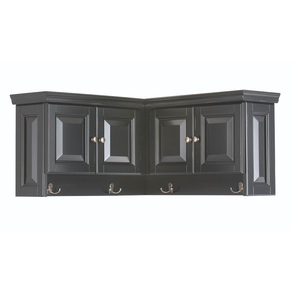Walker Wooden Corner Wall Cabinet in Black (16 in. H x 30 in. W x 30 in. D)