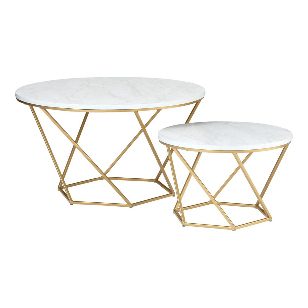 Walker Edison Furniture Company Modern Nesting Coffee Table Set - White Marble/Gold, Faux White Marble/Gold was $275.42 now $185.36 (33.0% off)