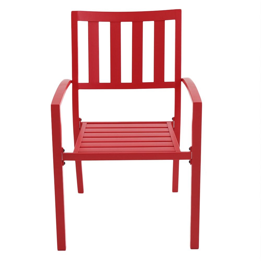 Hampton Bay Mix And Match Ruby Metal Slat Outdoor Dining Chair (2 Pack)